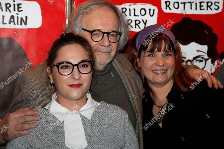 Stock Photo of French director Pascal Thomas, center, with French actresses Marilou Berry, left, and Christine Citti pose prior to the premiere screening of 'Valentin Valentin', in Paris