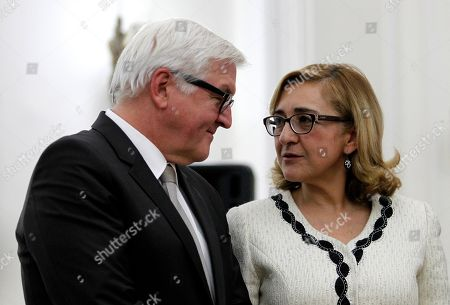Tamar Beruchashvili, Frank-Walter Steinmeier Georgia's Foreign Minister Tamar Beruchashvili and her visiting German counterpart Frank-Walter Steinmeier, left, attend a joint news conference in Tbilisi, Georgia on