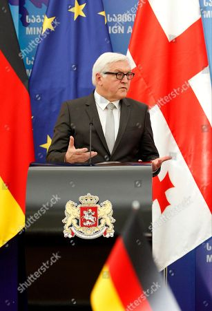 Frank-Walter Steinmeier German Foreign Minister Frank-Walter Steinmeier speaks at a news conference with his Georgian counterpart Tamar Beruchashvili in Tbilisi, Georgia on