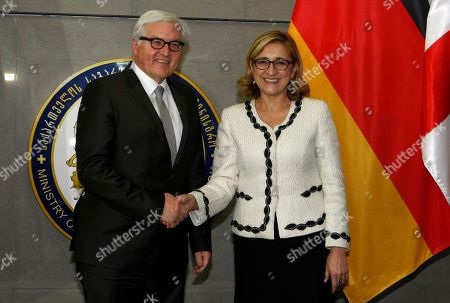 Tamar Beruchashvili, Frank-Walter Steinmeier Georgia's Foreign Minister Tamar Beruchashvili and her visiting German counterpart Frank-Walter Steinmeier, left, shake hands prior to a joint news conference in Tbilisi, Georgia on