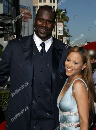 Stock Picture of Shaquille O'Neal and wife Shaunie O'Neal