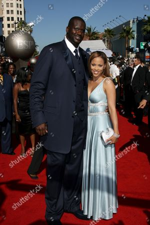 Stock Photo of Shaquille O'Neal and wife Shaunie O'Neal