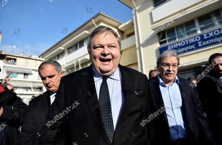 Evangelos Venizelos Deputy Prime Minister and Foreign Minister Evangelos Venizelos leaves a polling station after voting in the northern Greek port city of Thessaloniki, . Greece voted Sunday in an early general election that could alter the course of the country's struggle with crippling debts, with a radical left party poised to win by promising to rewrite the terms of its international bailout