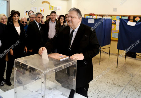 Evangelos Venizelos Deputy Prime Minister and Foreign Minister Evangelos Venizelos casts his vote at a polling station in the northern Greek port city of Thessaloniki, . Greece voted Sunday in an early general election that could alter the course of the country's struggle with crippling debts, with a radical left party poised to win by promising to rewrite the terms of its international bailout