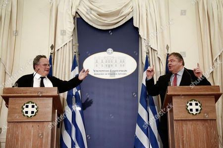 Nikos Kotzias, Evangelos Venizelos Greece's New Foreign Minister Nikos Kotzias, left, and outgoing counterpart Evangelos Venizelos publicly disagree over policy at a handover ceremony in Athens, . Greece's new left-wing government was sworn in Tuesday after a landmark general election victory at the weekend