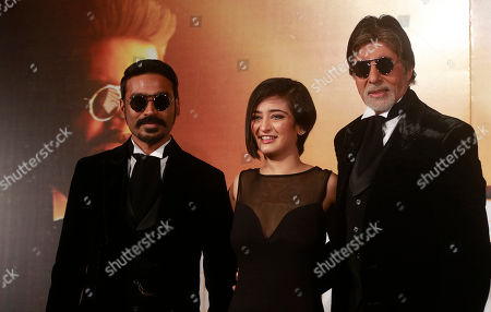 "Amitabh Bachchan, Akshara Haasan, Dhanush Bollywood actors, from right to left, Amitabh Bachchan, Akshara Haasan and Dhanush attend the trailer launch of their upcoming film ""Shamitabh"" in Mumbai, India, . The film is scheduled for release on Feb. 6"