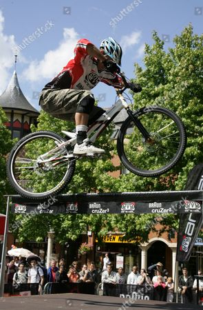 Stock Image of Martyn Ashton British Champion mountain bike rider.