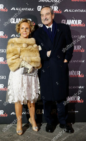 Anna Molinari with her husband attends the 2014 Glamour Awards event hosted by Glamour magazine in Milan, Italy