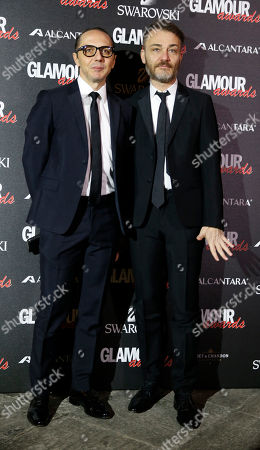 Tommaso Aquilano, left, and Roberto Rimondi attends the 2014 Glamour Awards event hosted by Glamour magazine in Milan, Italy