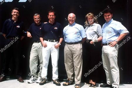 ITV's Formula One Team of Presenters - 2006 L-R Tony Jardine, Jim Rosenthal, Martin Brundle, Murray Walker, Louise Goodman and James Allen.