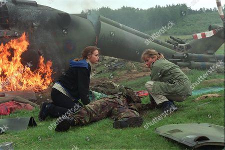 A Crash scene with Eva Pope in, filmed for  'Peak Practice' - 2001