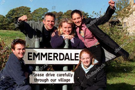 'Emmerdale' - Craig Calder [Jason Hain], Phil Weston [Mark Jardine], Maggie Calder [Dee Whitehead], Jess Weston [Ruth Abram], Lucy Calder [Elspeth Brodie]