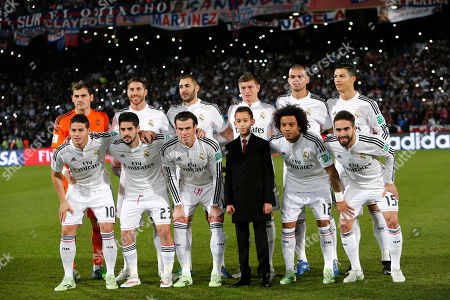 The Real Madrid team poses with Moroccan Crown Prince Moulay El Hassan before the final match for Club World Cup soccer tournament opposing Real Madrid to San Lorenzo, in Marrakech, Morocco