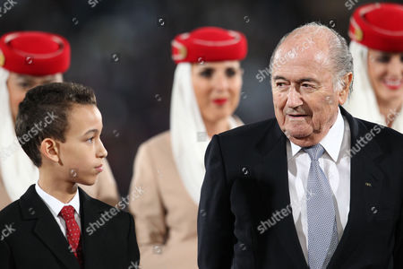 Moulay El Hassan, Sepp Blatter FIFA president Sepp Blatter looks to Morocco's Crown Prince Moulay El Hassan, left, after the final match for Club World Cup soccer tournament opposing Real Madrid to San Lorenzo, in Marrakech, Morocco