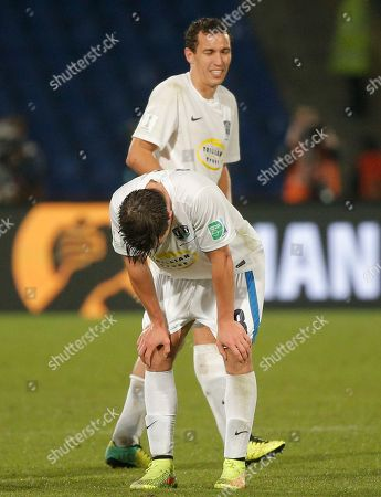 Auckland City FC's Tim Payne is dejected after loosing 2 - 1 the semi final soccer match between Auckland City FC and San Lorenzo at the Club World Cup soccer tournament in Marrakech, Morocco