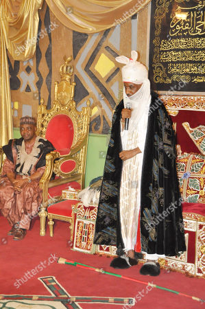 Stock Photo of Nigeria Vice President, Namadi Sambo, left, visits the Emir of Kano, Lamido Sanusi, following last Friday explosion in a mosque, in Kano, Nigeria, . More than one hundred eople were killed in the bomb explosions at the central mosque in the city on Friday, said a hospital worker