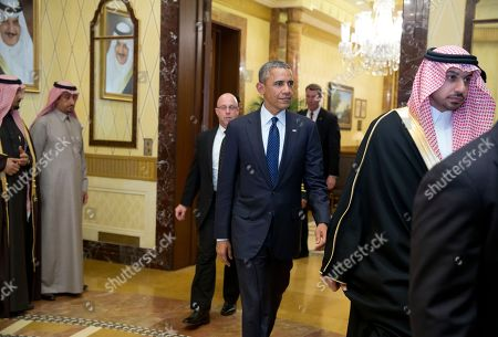 Barack Obama President Barack Obama walks to a bilateral meeting in Erga Palace with new Saudi Arabian King, Salman bin Abdul Aziz, in Riyadh, Saudi Arabia, . The president and first lady and a delegation have come to expresses their condolences on the death of the late Saudi Arabian King Abdullah bin Abdulaziz al-Saud