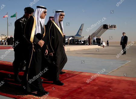 Salman bin Abdul Aziz Saudi King, Salman bin Abdul Aziz walks to meet President Barack Obama and first lady Michelle Obama as they arrive on Air Force One at King Khalid International Airport, in Riyadh, Saudi Arabia, . The president came to expresses condolences on the death of the late Saudi Arabian King Abdullah bin Abdulaziz al-Saud