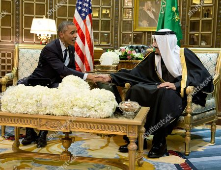Barack Obama, Salman bin Abdul Aziz President Barack Obama and new Saudi Arabian King, Salman bin Abdul Aziz, are photographed as they shake hands in a bilateral meeting in Riyadh, Saudi Arabia, . The president has come to expresses condolences on the death of the late Saudi Arabian King Abdullah bin Abdulaziz al-Saud