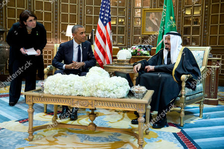 Barack Obama, Salman bin Abdul Aziz An interpreter looks on from left, as President Barack Obama and new Saudi Arabian King, Salman bin Abdul Aziz, are photographed during a bilateral meeting in Riyadh, Saudi Arabia, . The president has come to expresses condolences on the death of the late Saudi Arabian King Abdullah bin Abdulaziz al-Saud