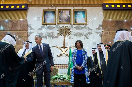 Barack Obama, Salman bin Abdul Aziz, Michelle Obama President Barack Obama and first lady Michelle Obama participate in a receiving line with the new Saudi Arabian King, Salman bin Abdul Aziz, at Erga Palace in Riyadh, Saudi Arabia, . The president and first lady have come to expresses their condolences on the death of the late Saudi Arabian King Abdullah bin Abdulaziz al-Saud