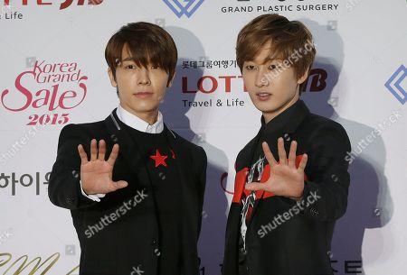 Stock Image of Donghae, Eunhyuk Members of South Korean K-Pop group Super Junior Donghae, left, and Eunhyuk, pose prior to the Seoul Music Awards in Seoul, South Korea