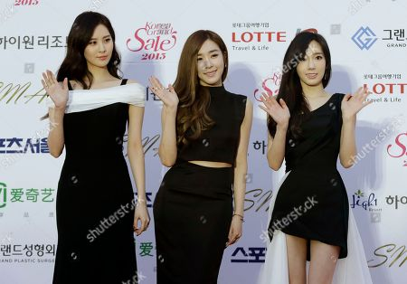 Tae Yeon, Tiffany, Seohyun South Korean K-Pop group Girls' Generation members, from left, Seohyun, Tiffany and Tae Yeon, pose prior to the Seoul Music Awards in Seoul, South Korea