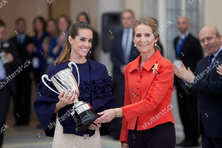 Ona Carbonell i Ballestero, Princess Elena de Borbon Spanish swimmer Ona Carbonell i Ballestero, left, receives from Spanish Princess Elena de Borbon the 'Infanta of Spain Prize S.A.R. Dona Cristina' during the 2013 Spain's National Sports Awards at El Pardo Palace in Madrid, on