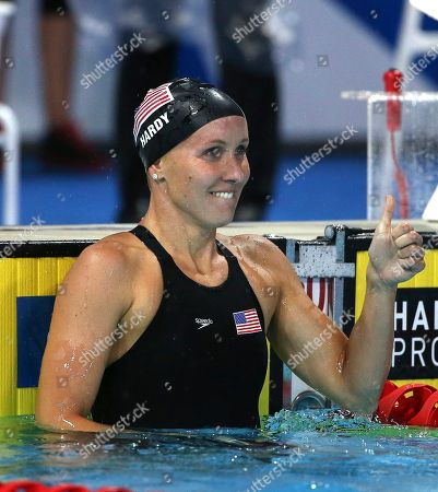 Jessica Hardy Jessica Hardy of the U.S. holds a thumb up after winning her women's 100m breaststroke final at the Pan Pacific swimming championships in Gold Coast, Australia