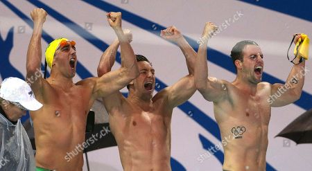 Matthew Abood Tommaso D'Orsogna James Magnussen Australia mens relay team from left, Matthew Abood, Tommaso D'Orsogna and James Magnussen celebrate winning their men's 4 x 100m freestyle final at the Pan Pacific swimming championships in Gold Coast, Australia, . Australia won the race ahead of the U.S. and Brazil
