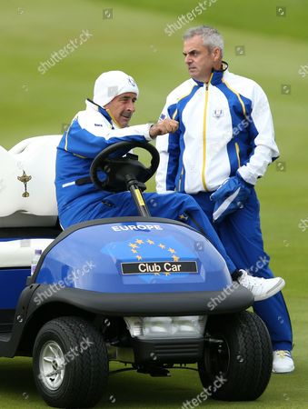 Europe team captain Paul McGinley stands with team vice captain Sam Torrance in a golf buggy on the 13th fairway during a practice round ahead of the Ryder Cup golf tournament at Gleneagles, Scotland