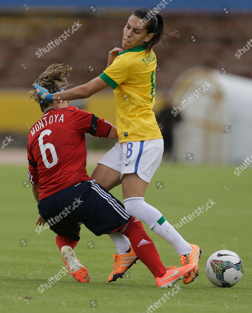 Daniela Montoya, Thaisa Brazil's Thaisa, right, fights for the ball with Colombia's Daniela Montoya during a Women's Copa America soccer match in Quito, Ecuador, . The top two teams will qualify directly to the World Cup, and the third placed team will play in a play-off against the fourth placed team of the 2014 CONCACAF Women's Championship