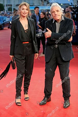 US director Abel Ferrara with Shanyn Leigh pose for photographers during the 40th Deauville US Film Festival, in Deauville, Normandy, western, France
