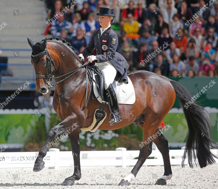 Victoria Max-Theurer Victoria Max-Theurer of Austria, riding Augustin Old during the freestyle Grand Prix individual dressage competition at the FEI World Equestrian Games, at Michel d'Ornano stadium in Caen, western France, . Charlotte Dujardin of Great Britain won on Valegro ahead of German Helen Langenhanenberg on Damon Hill and Dutch Adelinde Cornelissen on Jerich Parzival