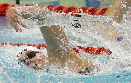 Denmark's Lotte Friis competes in a women's 800m freestyle first round heat at the LEN Swimming European Championships in Berlin, Germany