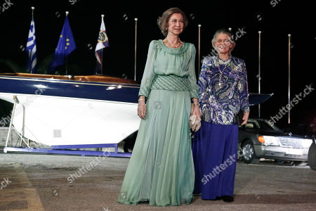 Queen Sofia,Princess Irene Spanish former Queen Sofia, left, and her sister Princess Irene of Greece arrive at the Yacht Club of Greece in Piraeus, near Athens, . Former King Constantine II of Greece and former Queen Anne-Marie of Greece celebrate Thursday their Golden wedding anniversary with royals from all over Europe
