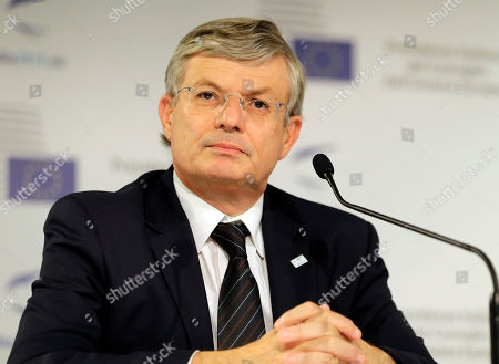 European Commissioner for Health and Consumer Policy Tonio Borg listens reporters' questions during a press conference at an Informal Meeting of the EU Health Ministers in Milan, Italy