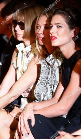 From left, editor-in-chief of American Vogue Anna Wintour, model Kate Moss, and Princess Charlotte Casiraghi attend Gucci women's spring-summer 2015 show, part of the Milan Fashion Week, unveiled in Milan, Italy
