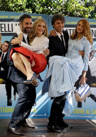"""From left, Raul Bova, Carolina Crescentini, Luca Argentero and Miriam Leone pose for photographers during a photo call of the movie """"Fratelli Unici"""" in Rome"""