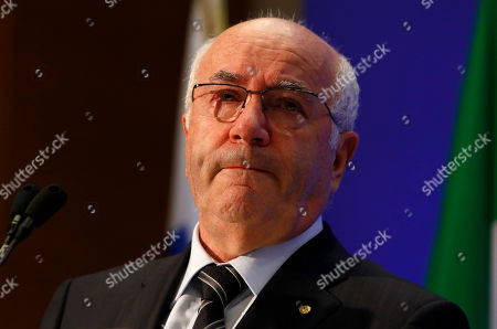 Italian Soccer Federation (FIGC) newly elected president Carlo Tavecchio reacts at the end of the national elective assembly at Fiumicino, near Rome, . Carlo Tavecchio has been elected the new president of the Italian football federation, replacing Giancarlo Abete. Despite allegations of racism marring his electoral campaign, Tavecchio beat Demetrio Albertini by a majority vote on Monday