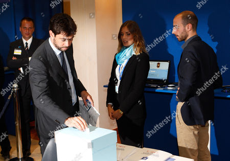Andrea Agnelli Juventus president Andrea Agnelli casts his ballot during the election of the new president of Italian Soccer Federation (FIGC), during a national elective assembly at Fiumicino, near Rome, . Carlo Tavecchio was been elected as the new president of the Italian football federation, replacing Giancarlo Abete. Despite allegations of racism marring his electoral campaign, Tavecchio beat Demetrio Albertini by a majority vote on Monday
