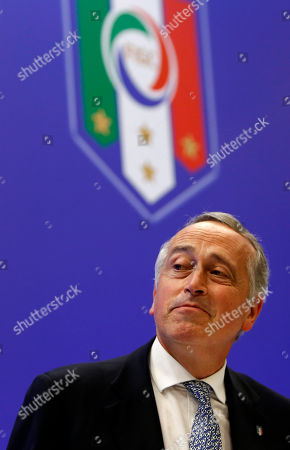 Giancarlo Abete Italian Soccer Federation (FIGC) outgoing president Giancarlo Abete reacts at the end of the national elective assembly at Fiumicino, near Rome