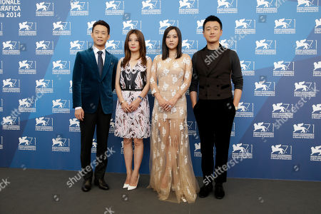 From left, actor Zhang Yi, actress Zhao Wei, actress Hao Lei and actor Tong Dawei pose for photographers during a photo call for Dearest at the 71st edition of the Venice Film Festival in Venice, Italy