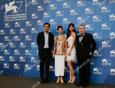 Kim Ho-jung, Ahn Sung-kee, Im Kwon-taek, Kim Gyu-ri From left, actors, Ahn Sung-kee, Kim Ho-jung, Kim Gyu-ri, and director Im Kwon-taek pose during the photo call for the movie Hwajang at the 71st edition of the Venice Film Festival in Venice, Italy