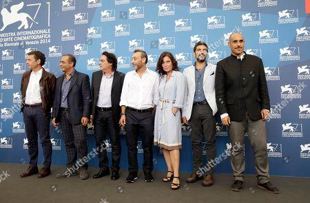 Sabina Guzzanti Director and actor Sabina Guzzanti poses with the cast during the photo call for the movie La Trattativa at the 71st edition of the Venice Film Festival in Venice, Italy