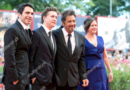 From left, actor Chris Messina, director David Gordon, actor Al Pacino and producer Lisa Muskat arrive for the screening of the movie 'Manglehorn' at the 71st edition of the Venice Film Festival in Venice, Italy
