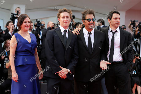 Stock Picture of David Gordon Green, Lisa Muskat, Al Pacino, Chris Messina From left, producer Lisa Muskat, director David Gordon Green, actors Al Pacino and Chris Messina arrive for the screening of Manglehorn during the 71st edition of the Venice Film Festival in Venice, Italy
