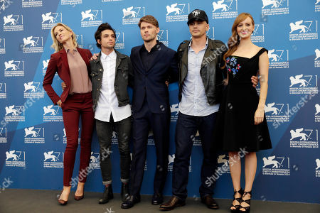 From left, actors Janet Jones Gretzky, Jacob Loeb, Scott Haze, actor and director James Franco, and actress Ahna O'Reilly pose for photographers during the The Sound And The Fury photo call, the 71st edition of the Venice Film Festival in Venice, Italy