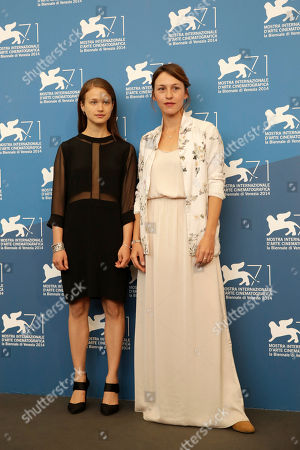 Meshi Olinski, Sarah Adler Actresses Meshi Olinski and Sarah Adler pose during the photo call for the movie Tsili during the 71st edition of the Venice Film Festival in Venice, Italy