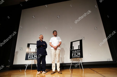 Toshio Suzuki, Hideaki Anno Toshio Suzuki, left, general manager of Studio Ghibli, a Japanese animation film studio, and Japanese animator Hideaki Anno stand on stage after a press conference of the 27th Tokyo International Film Festival in Tokyo